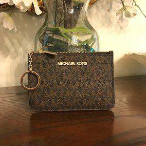 Michael Kors Jet Set Travel Leather Coin Zip Pouch in Brown Logo